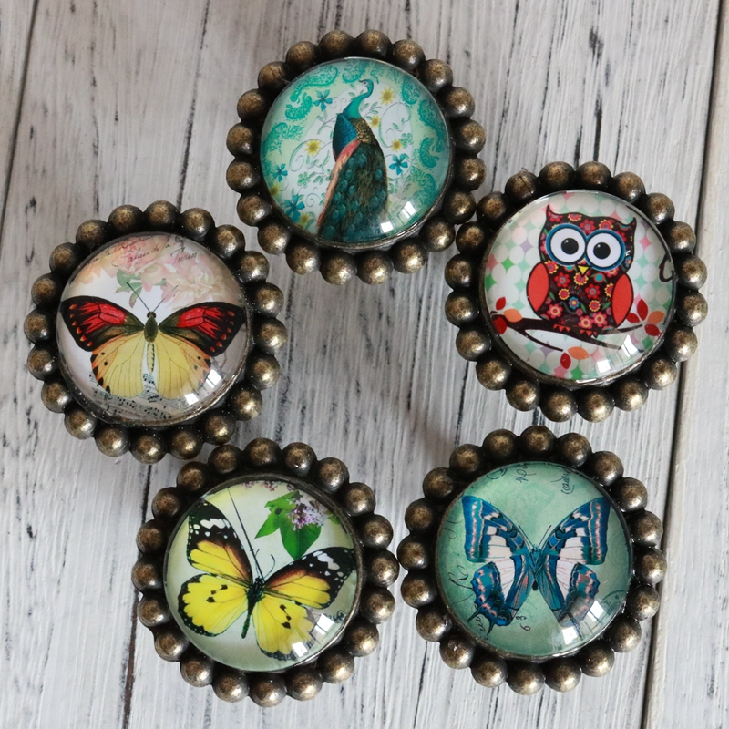 Cute Peacock Owl butterfly Crystal Glass Door Knobs Drawer Cabinet Furniture Kitchen Handle for Kid's Bedroom Drawer Cupbroad