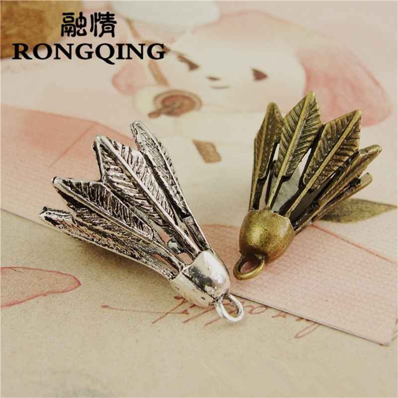 RONGQING 19*26MM 30pcs/lot badminton Pendants Necklaces Handmade Accessories Fashion Jewelry Charms DIY