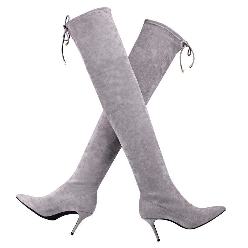 2017 winter autumn newest women knee genuine leather thin heels boots ladies fashion design top quality long boots women shoes