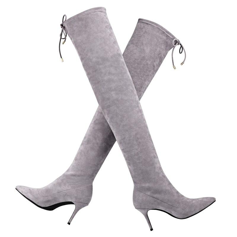 Cuir Véritable Mode En Top gris À Femmes De Chaussures 2019 Bottes Automne Talons Nouveaux Dames Noir Long Genou Hiver Qualité Design Minces qxw0YxZgpF
