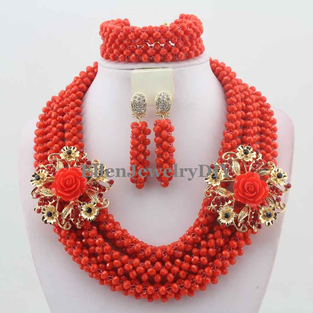 Exclusive African Beads Jewelry Set Handmade nigerian Wedding beads Jewelry Set Christmas Jewelry Gift Free Shipping  W10565