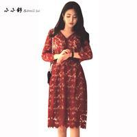 Small Su 2017 Summer 4xl Plus Size Women Dresses Black Red Lace Vintage Vneck Long Aline