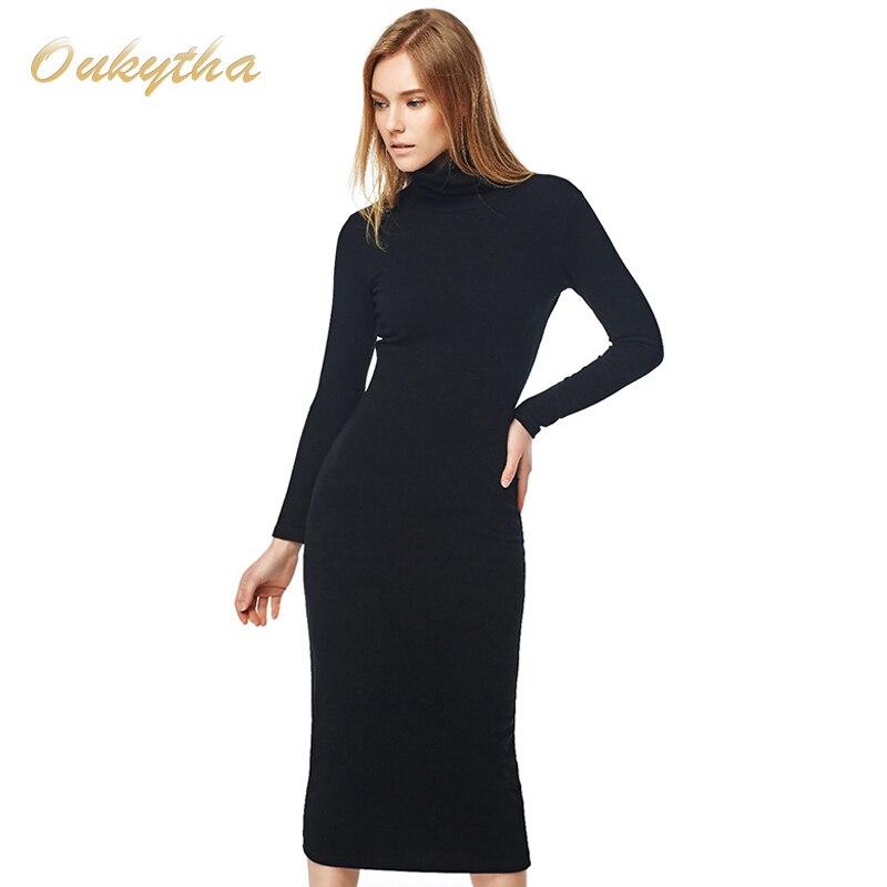 Oukytha 2017 de La Vendimia Suéter Largo de La Envoltura de Cuello Alto de La Cadera Vestido de Suéter Largo Soild de Manga Larga de Punto Vestido de Otoño Mujeres M15292