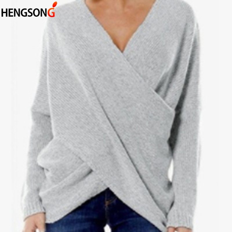 Women Knitting Pullover Sweaters Autumn Fashion Female Cross Wrap Sweater Long Sleeve V Neck Loose Casual Pullover