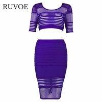 Xem qua 2 piece ngắn tay áo lưới hollow out mới nhất phong cách đến 2016 ladys 'sexy rayon bandage câu lạc bộ dress b-130