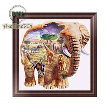 FineTime Animal Elephant 5D DIY Diamond Painting Partial Round Drill Diamond Embroidery Cross Stitch Mosaic Painting finetime 5d diamond painting partial drill animal round diamond mosaic embroidery kit christmas decorations gift