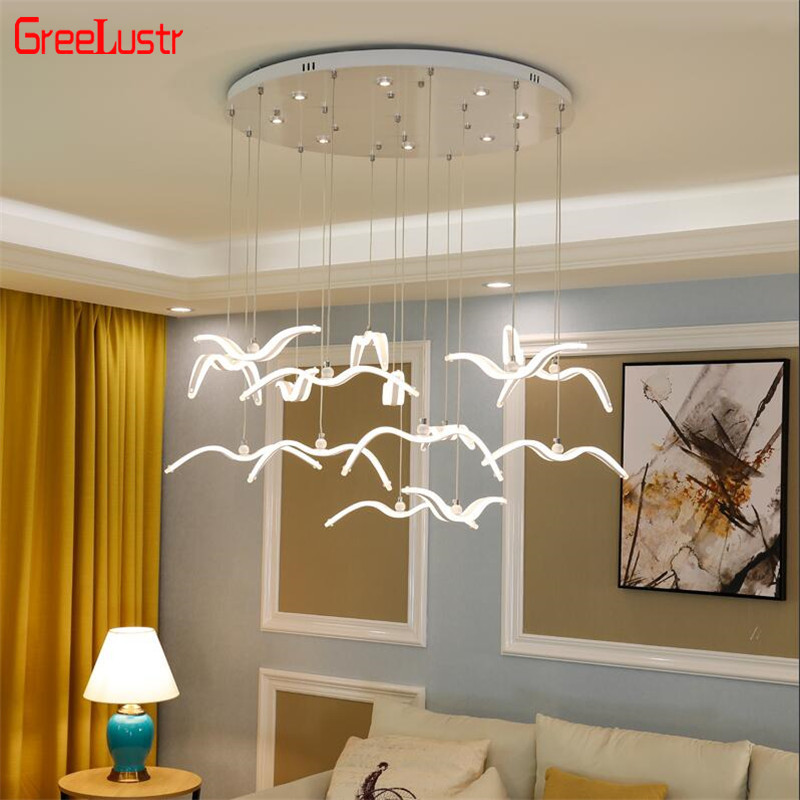 Novelty Led Seagull Pendant Lamp For Kitchen Acrylic Led Chandeliers Hanging Light Creative Lestre Suspension Light Fixtures