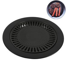 12Inch Electric Nonstick Grilling Metal Surface Smokeless Korean Bbq Grill Pan Gas Stovetop Plate Outdoor Indoor Barbecue Grill(China)