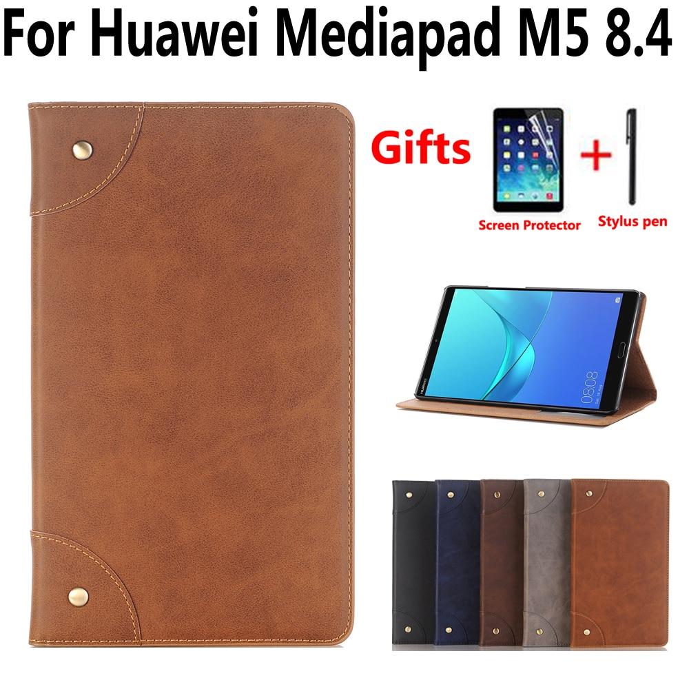 timeless design 1b029 7a48d Retro Leather Case Cover For Huawei Mediapad M5 8 8.4 Inch SHT-W09 SHT-AL09  Tablet Funda Flip Magnet Stand Smart Skin Shell