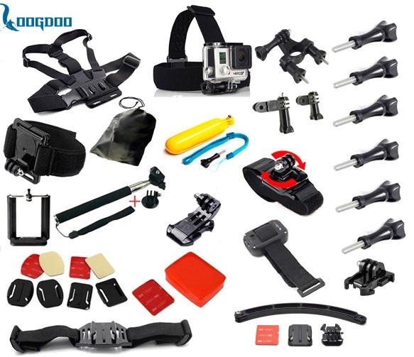 Ir pro Acessórios Conjunto Capacete Cabeça Strap Mount Harness Belt Peito monopé gopro hero 4 3 + xiaomi yi preto kit câmera de ação GS19