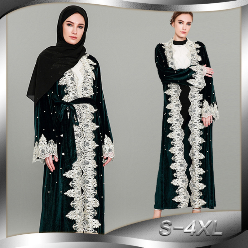 Velours musulman Abaya dentelle Maxi Robe perles Cardigan longue Robe tunique soie Kimono Ramadan islamique prière vêtements culte Service