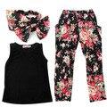 Meninas sem mangas t-shirt + calças florais + Headband do 3 PCS Outfits 2-7a
