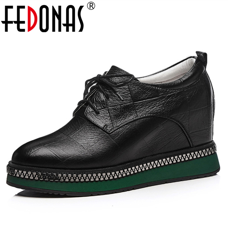 FEDONAS 1Fashion Women Basic Pumps Genuine Leather Spring Autumn High Heels Shoes Woman Round Toe Casual Cross-tied Brand Pumps 2018 fashion high heels women brand pumps wedges genuine leather square toe cross tied platform increased straw rome shoes