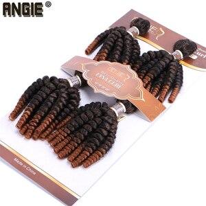 Image 2 - Angie Ombre Funmi syntetyczne włosy do przedłużania 4 wiązki jedno opakowanie w dwóch odcieniach T1B/#30 krótkie włosy doczepiane wysokiej temperatury włókna