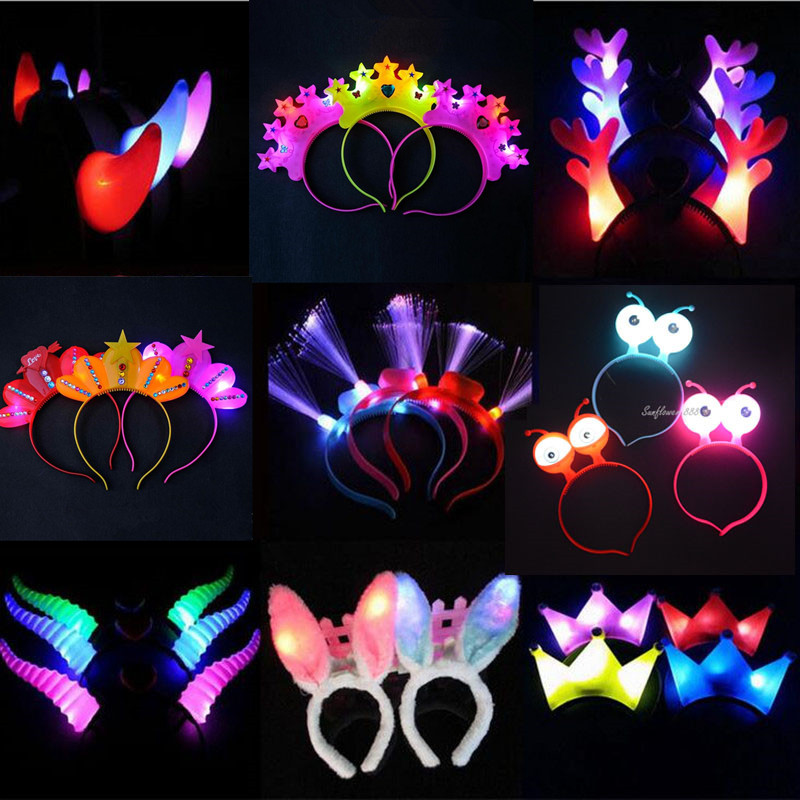 Lighting Headband Optical Fiber Cat Rabbit Ear Flashing Head hoop Hair Dance Glow Party Supplies Wedding Decoration