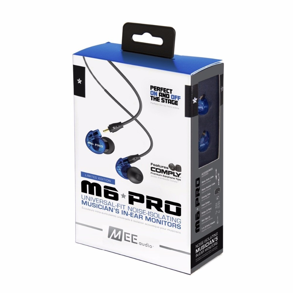 MEE Audio M6 PRO In-Ear Monitors Earphones HiFi Wired Earbuds  Limited Edition Blue with Detachable Cables Noise Canceling 3.5mm original mee audio pinnacle p1 audiophile bass hifi dj studio monitor music in ear earphones w detachable cable vs pinnacle p2