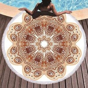 Image 4 - ボヘミアン曼荼羅ラウンドビーチタオルタッセル大人マイクロファイバータオルソフト吸収夏水泳スポーツバスタオルナプキンプラージュ