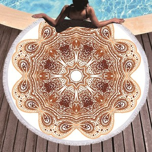 Image 4 - Bohemian Mandala Round Beach Towel Tassel Adult Microfiber Towel Soft Absorbent Summer Swimming Sport Bath Towel Serviette Plage