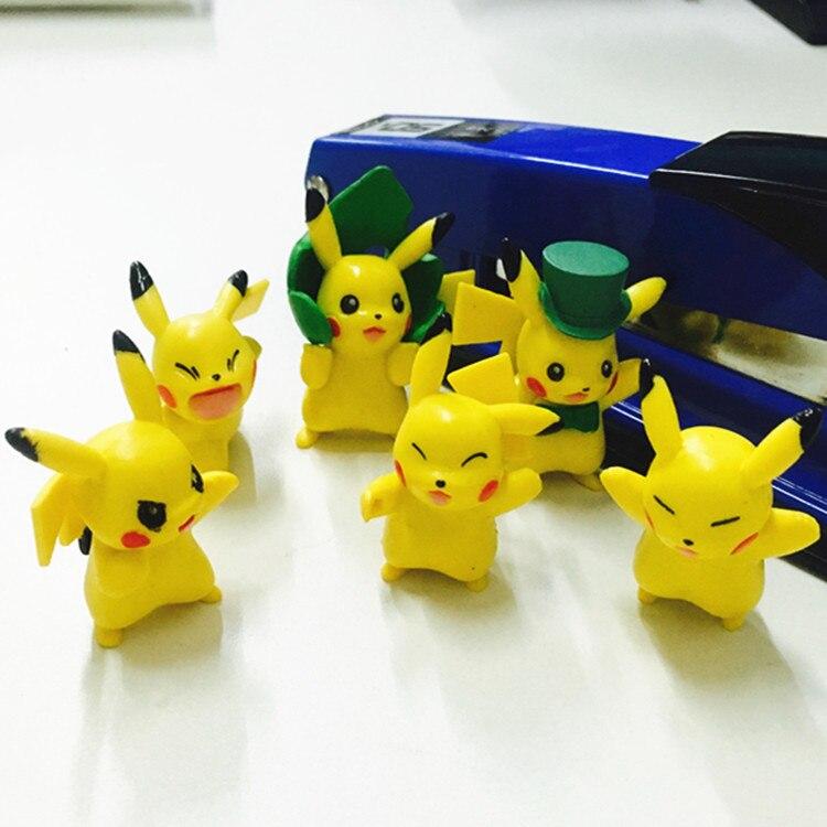 Hot Sale 6Pcs Lot 3 4 cm PVC Pokemon Pikachu font b Action b font font