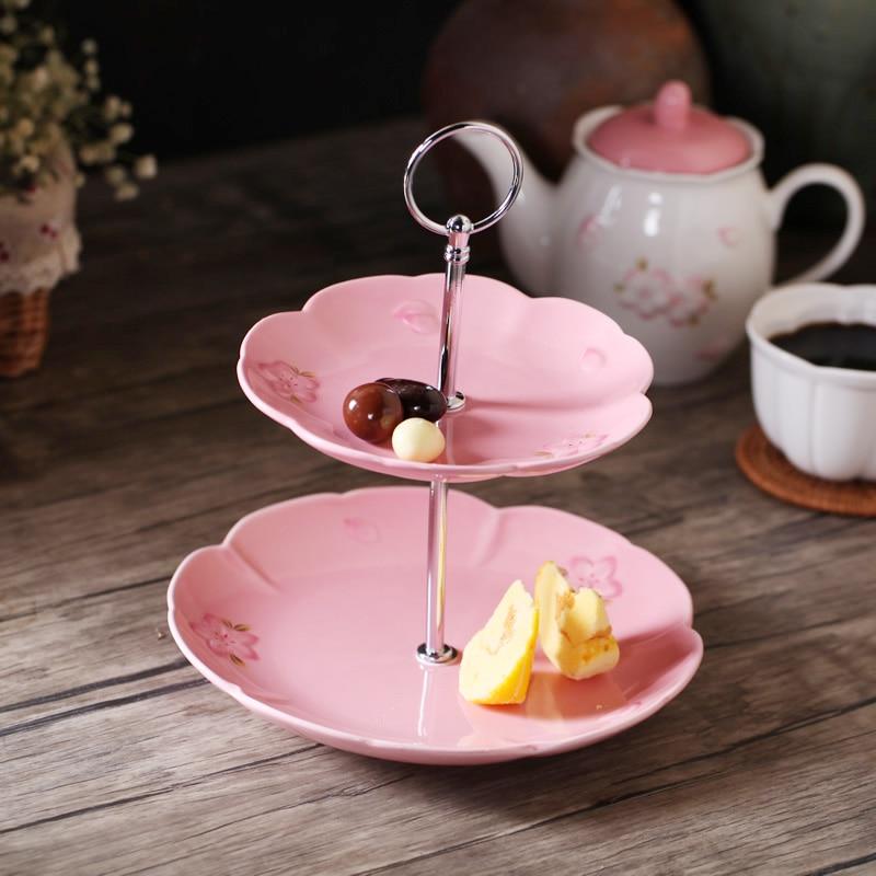 Vaisselle et assiettes à Double couche Emboss Sakura | Dessert imprimé Sakura Fruit de Style européen adapté au micro-ondes 2 pièces de 6 pouces + 8 pouces