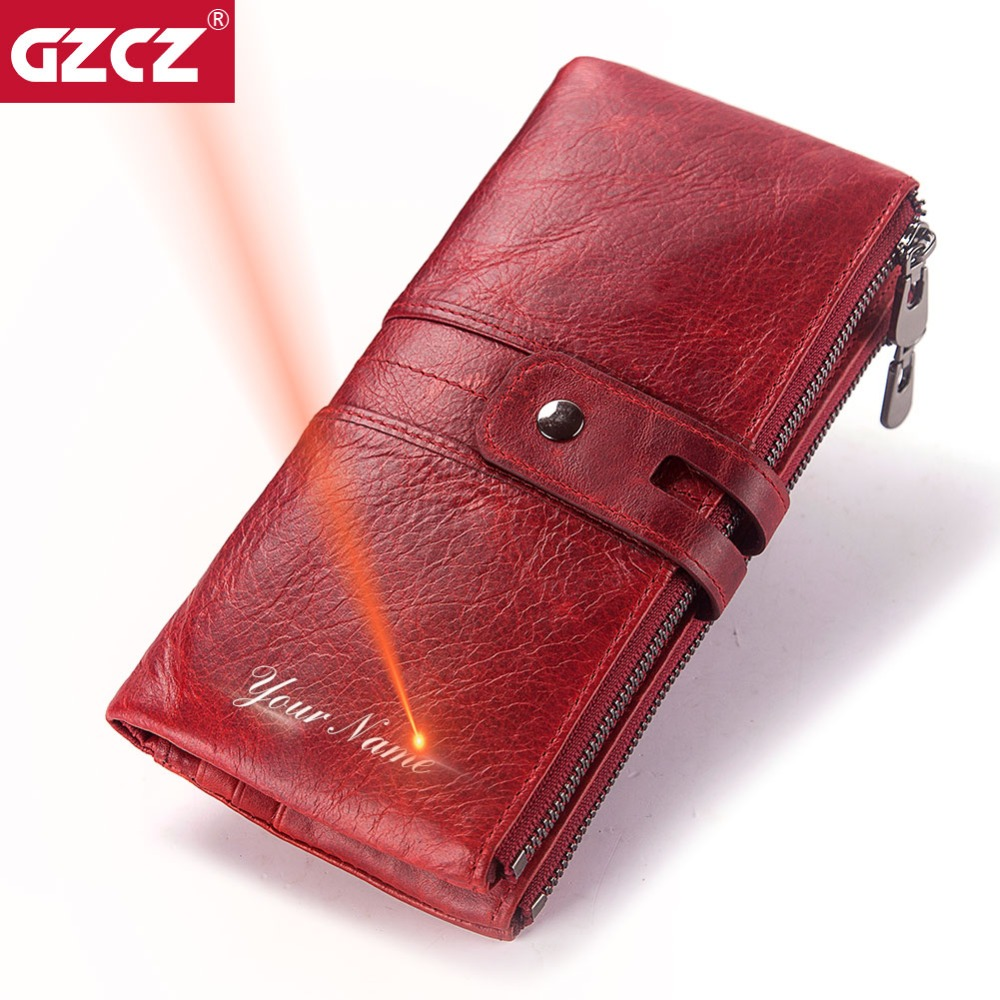 GZCZ Leather Women Wallet Female Coin Purse Hasp Portomonee Clutch Phone Bag Long Zipper Lady Handy Card Holder Free Engraving