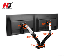 NB F180 Gas Spring Full Motion 17-27 Dual Screen Monitor Holder Desktop Clamping/ Grommet TV Mount With Two USB Ports