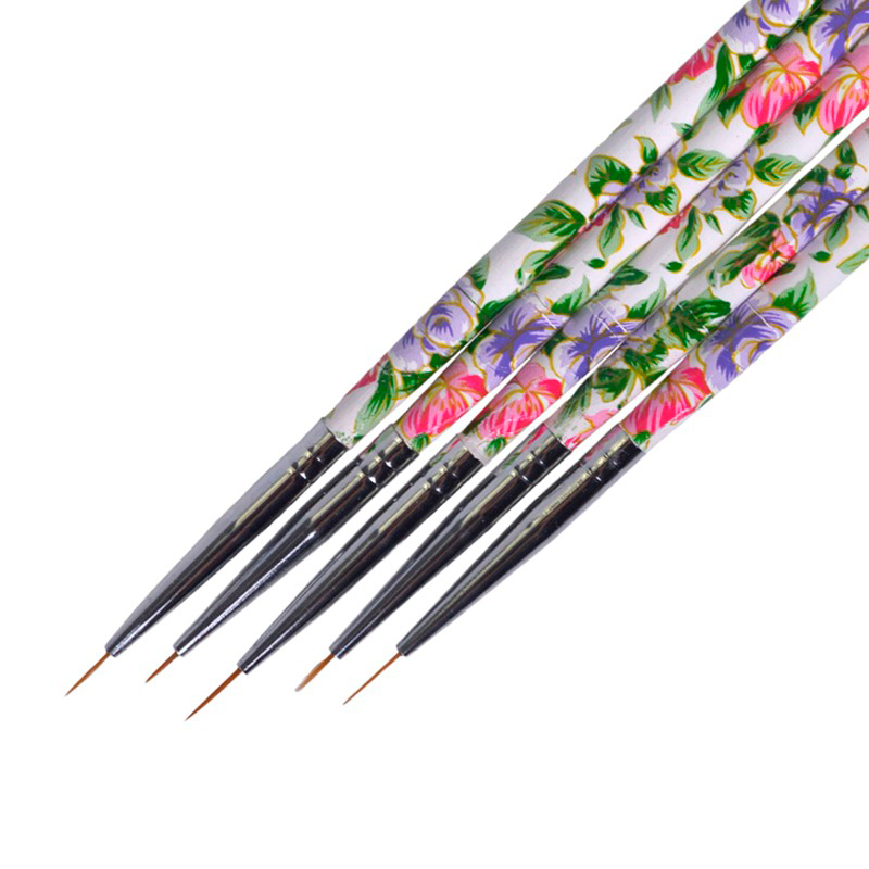 5PCS Flower Beauty Handle Nail Art Liner Brushes Drawing Paiting For Acrylic UV Gel Polish Decor Manicure Nail Pen TR619