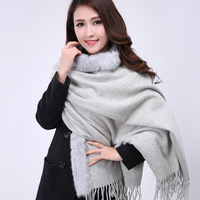 Ligth Gray Women S 100 Wool Cashmere Muffler Rabbit Fur Soft Pashmina Long Poncho Solid Color