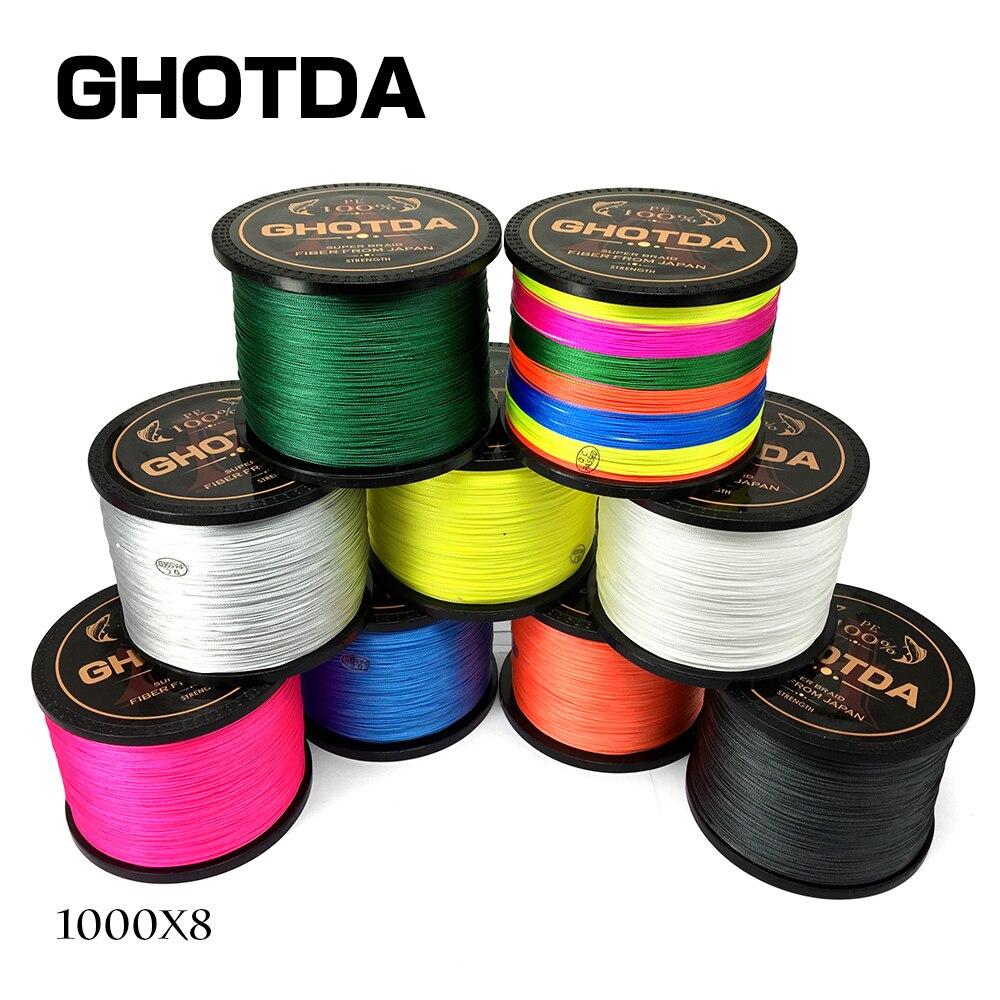GHOTDA marca la línea de pesca 1000 m 8 hilos PE trenzado multifilamento de 15 20 30 40 50 60 80LB