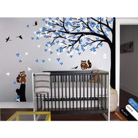 POOMOO Wall Decals Vinyl wall tree decal with stump, raccoon, birds, leaves for baby's room 240cmX313cm