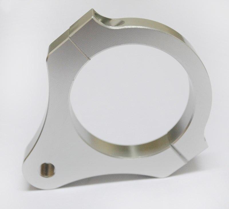 Aluminium Lenkungsdämpfer Gabel Rahmen Montage Klemmhalterung Fuß Fixer für Motorrad Bike Änderung Silber