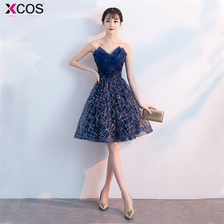 Glitter Beaded Cocktail Party Dress 2018  Elegant A-Line Mini Navy Blue Lady Cocktail Dresses Short Dresses