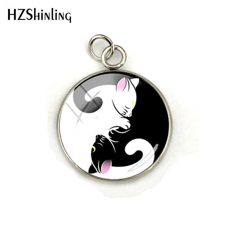 Thời Trang mới Yin Yang Mèo Pattern Glass Cabochon Mặt Dây Chuyền Yoga Zen Đồ Trang Sức Charms Giáng Sinh Quà Tặng cho Yoga Người Yêu Bán Buôn