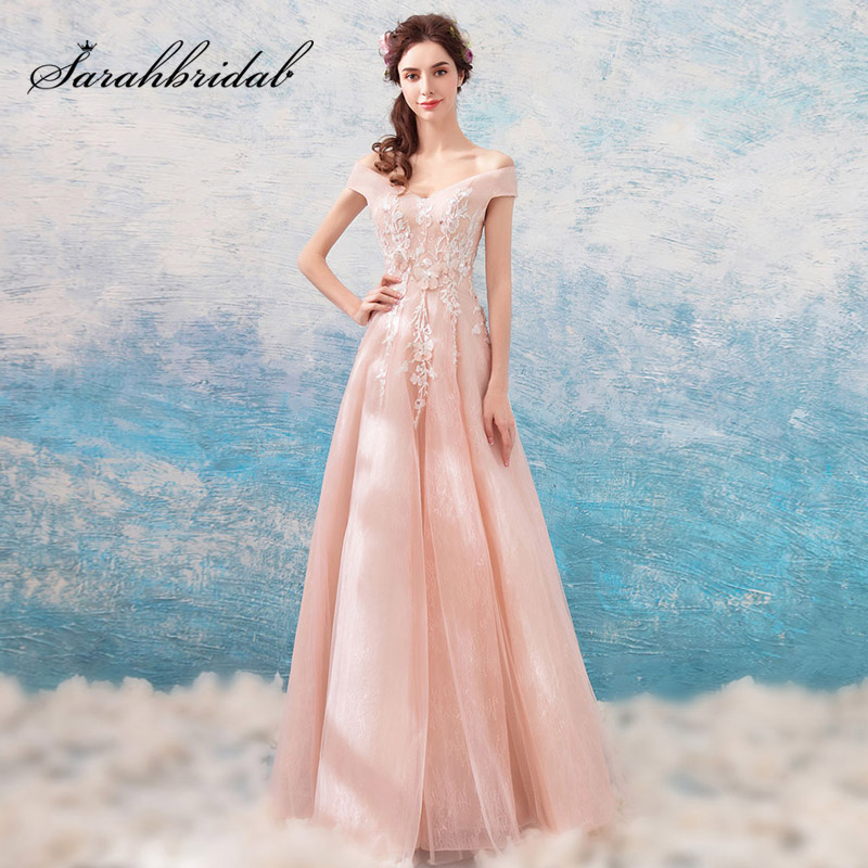 Affordable Luxury Pink   Prom     Dresses   with Chic Lace Appliques Evening Party Gown Charming Maid of Honor   Dress   for Weddings L3114