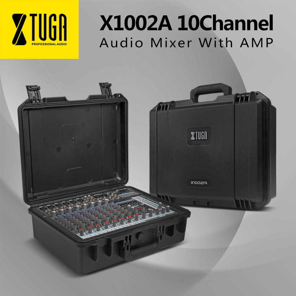 XTUGA Audio Portable mixer Sound console integrated Power amplifier 300W*2 48V phantom power 16 kinds of digital ECHO party DJ