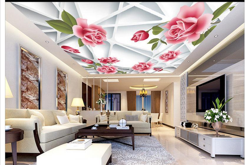 Custom Photo Wallpaper 3d Ceiling Wallpaper Murals Vector 3D Frame Pink Rose Flower Ceiling Frescoes Beauty Mural Decoration