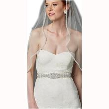YANSTAR Bridal Rhinestone Wedding Belts Silver Crystal Iron On Ribbons With Box For Bridal Gowns