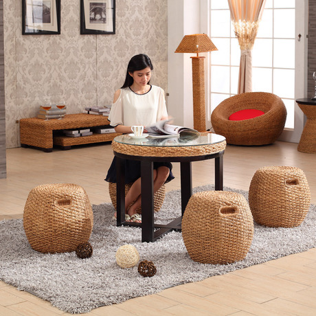 Living Room Sets Living Room Furniture rattan furniture handmade Rattan stool table set balcony furniture wholesale minimalist
