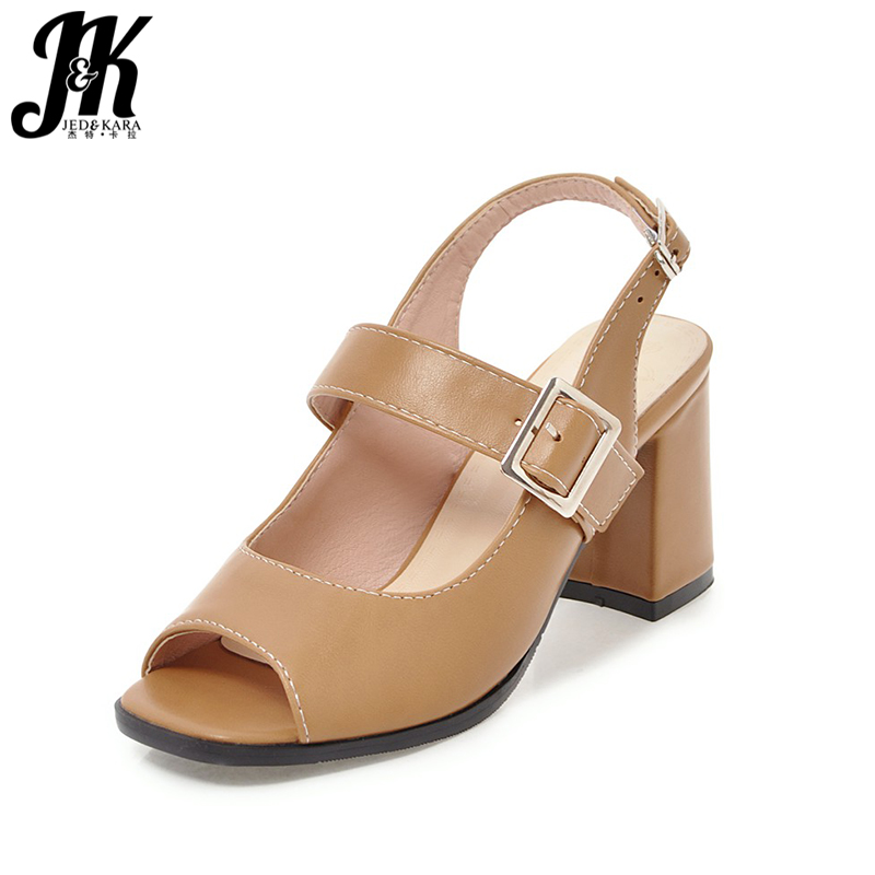 JK High Heels Sandals Women Buckle Back Strap Sexy Peep toe Square Heels Footwear Rome Summer Fashion Ladies Shoes Big Size ladies comfortable women office shoes sandals square heels spring 2017 real leather round toe solid high heels big size 40 41 42