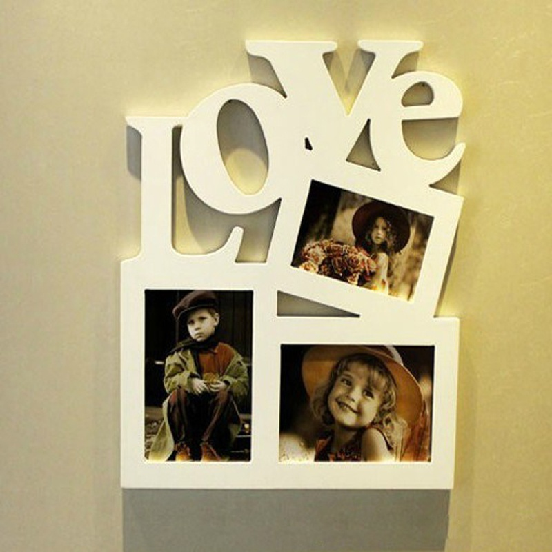 Hohl Love Letters Holz 3 Bilderrahmen Rahmen Weiß Basis Kunst DIY ...