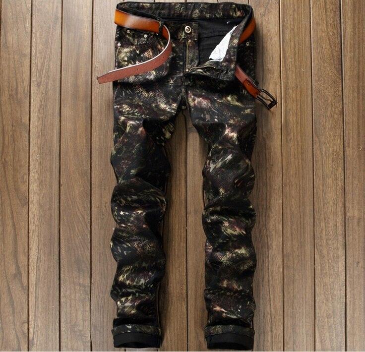 European American Style fashion brand men jeans luxury sexy Mens casual denim trousers zipper Slim black print jeans for men