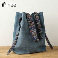iPinee Casual Women Handbags Designer Shoulder Bag High Quality Denim Bags Ladies Bucket Bag Tote Sac