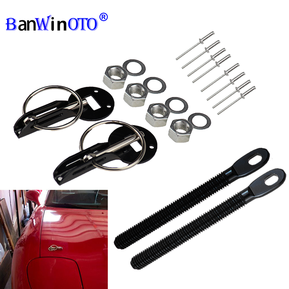Accesorios universales de coches de aleación de aluminio de montaje de campana Pin Bonnet Lock Kit de estilo de coche Tunning Lock Kit Down Hood Lock Pin
