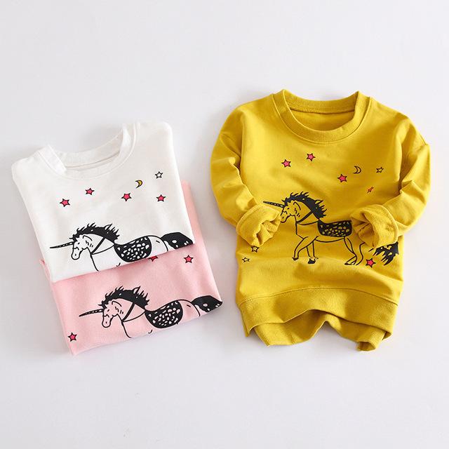 Sudaderas con capucha del niño del muchacho con capucha niñas horse cartoon kids hoody niños terry camiseta del algodón jersey sudadera con capucha niña