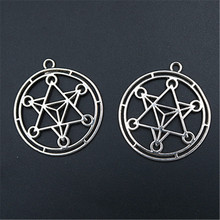 WKOUD 4pcs Metal Six-Pointed Star Pendant Hollow Of David Charm DIY Handmade Necklace Round Accessories 45*40mm A1556