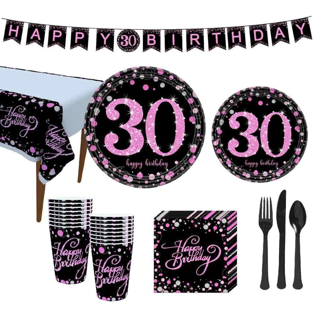 Taoup czarny złoty papier 30 jednorazowe zastawy stołowe urodziny 30. Wystrój z okazji urodzin dekory dla dorosłych jednorazowa imprezowa zastawa stołowa