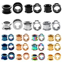316l Surgical Steel Ear Flesh Tunnel Plugs Anodized Without Thread Double Flared Hollow Screw Ear Expander Gauge Body Jewelry