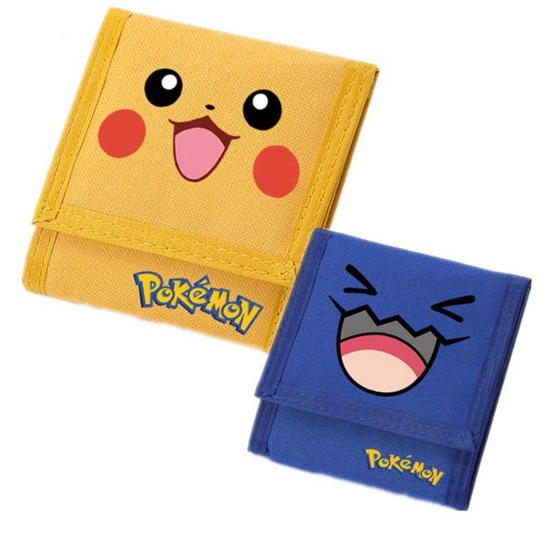 Anime Pokemon Pocket Monster Pikachu Psyduck Wobbuffet Emoji Canvas Short Wallet Kawaii Cartoon Purse Fashion Id Card Holder pokemon go print purse anime cartoon pikachu wallet pocket monster johnny turtle ibrahimovic zero pen pencil bag leather wallets