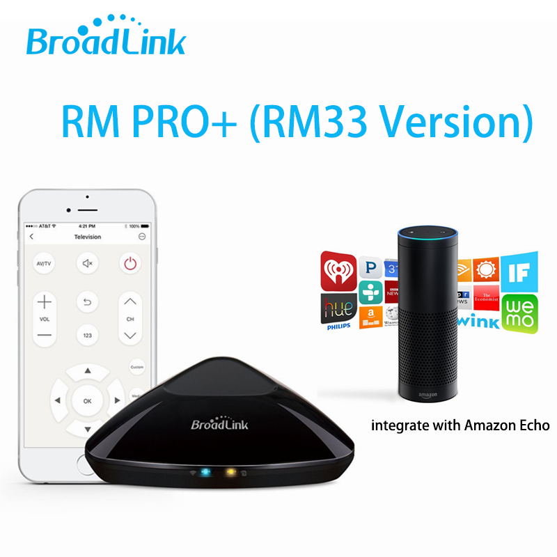 Broadlink RM33 RM Pro+ RM mini3 WiFi+IR+RF Universal Intelligent Remote Controller Switch Work With Amazon Alexa Echo Smart Home broadlink rm pro universal ir remote control smart 433 rf remote compatible alexa for apple xiaomi smartphone home automation