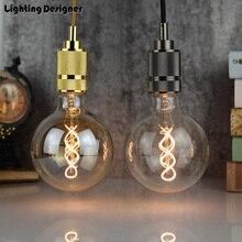 G125 led edison bulb spiral dimmable light amber retro saving lamp vintage filament bubble ball bulb